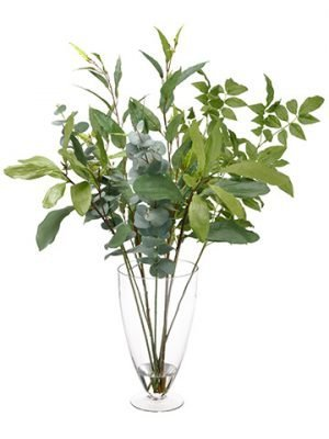 "35"" Assorted Leaf in GlassVaseGreen"