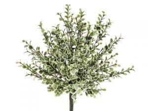 "16"" Button Leaf Bush Green White"