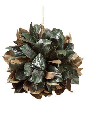 "16"" Magnolia Leaf HangingBallGreen"