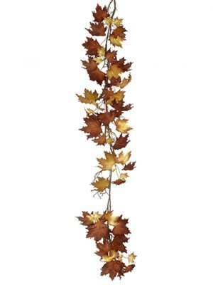 6' Mixed Canadian Maple Garland Brown Beige