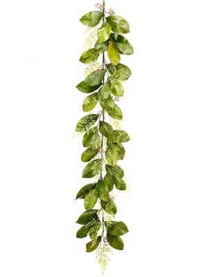 6' Magnolia Leaf/Fern Garland Green