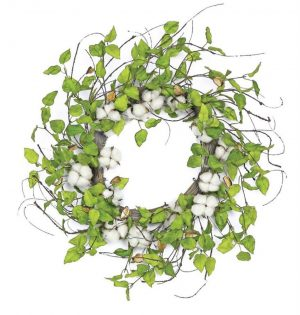 24in Cotton and Birch Leaf Wreath