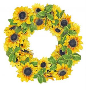 24in Lush sunflower wreath