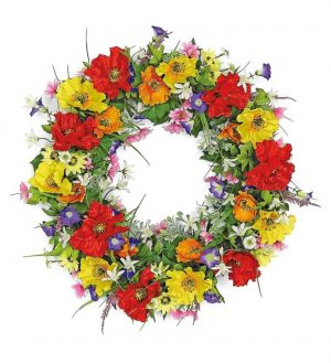 24in Burst of color poppy and wildflower wreath