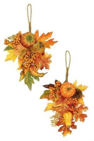 Harvest foliage and pumpkin hanger Set of 2