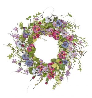 22in Pansy and wildflower wreath