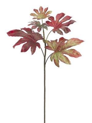 """32"""" Fatsia Leaf Spray Burgundy Green"""