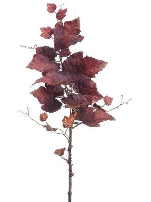 "24"" Metallic Grape Leaf Spray Two Tone Brown"