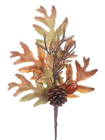 "12"" Oak Leaf/Oak/Pine ConeSprayBrown Green"