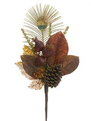 """20"""" Antler/Pine Cone/Pomegranate SprayBurgundy Green"""
