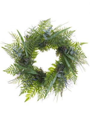 "26"" Soft Plastic Eucalyptus/ Lavender Wreath Green Gray"