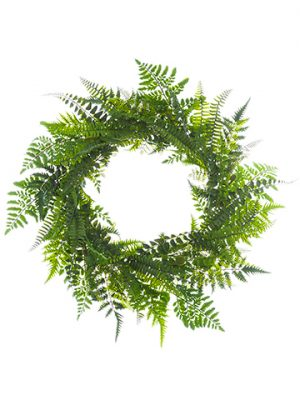 "24"" Mixed Fern Wreath Green"