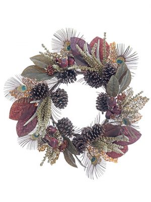 "24"" Antler/Pine Cone/ Pomegranate Wreath Burgundy Green"