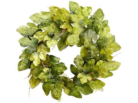 """32"""" Fig Leaf/Fern Wreath Green"""