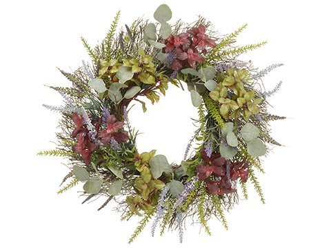 "22"" Herb Garden/Lavender/Eucalyptus WreathGreen Burgundy"
