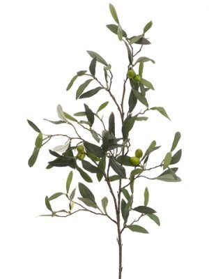 "30"" Olive Spray x5 w/90 Leaves & Olives Two Tone Green"
