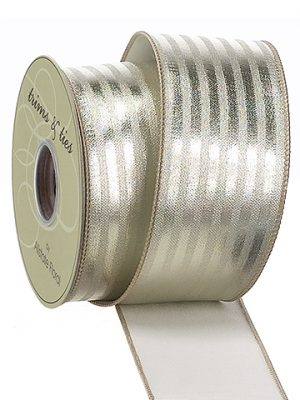 "2.5""W x 10yd Metallic Strip Ribbon Gold"