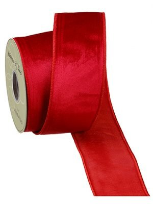 "2.5""W x 10yd Velvet Ribbon Red"