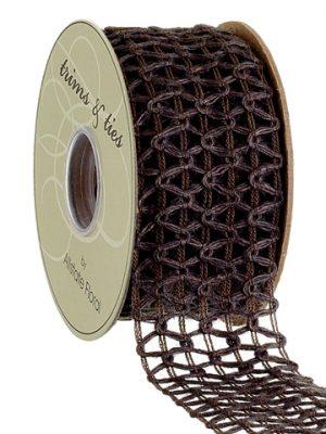 """2""""W x 10yd Jute Crochet Ribbon Gray Blue"""
