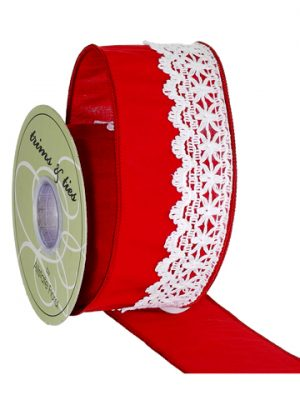 "2.5""x5yd Dupion Ribbon w/Trim Red White"