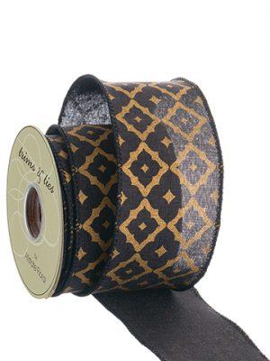 """2.5""""W x 10yd Linen Ribbon Black Gold"""