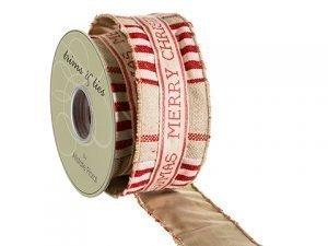 """2.5""""W x 5yd Linen Ribbon Red Beige"""