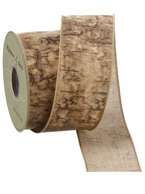 "2.5""W x 10yd Natural Printed Faux Linen Ribbon Green Moss"