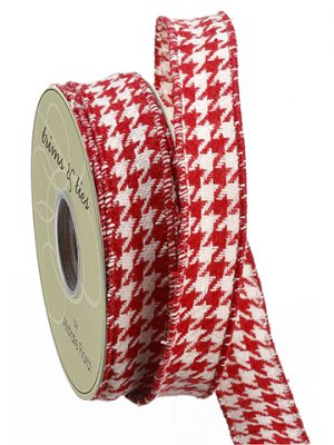 "1""W x 10yd Houndstooth Pattern Ribbon White Red"
