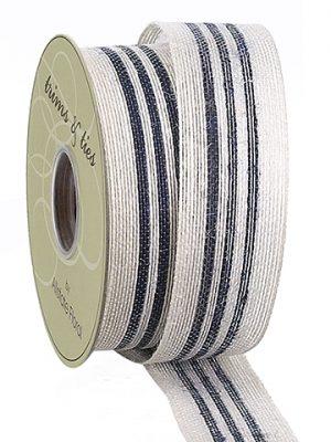 """1.5""""W x 10yd Linen Ribbon Beige Blue"""