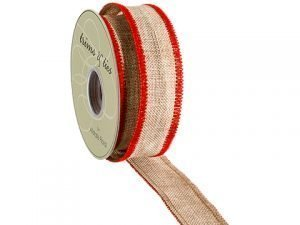 "1.5""W x 10yd Burlap Ribbon Nature Red"
