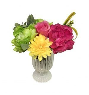 A burst of colors in footed glass vase