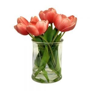 Real touch tulip arrangment in glass