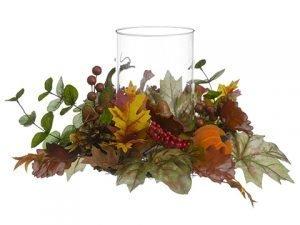"10""H x 12""D Pumpkin/Gourd/BerryCenterpiece With GlassCandleholder Orange Brown"