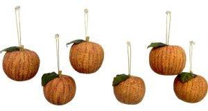Set of 6 Glittered Apple Ornament