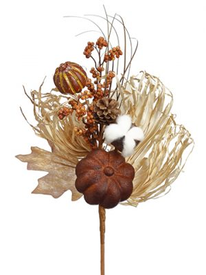 "14"" Pumpkin/Berry/Pine Cone/Grass Pick Toffee Brown"