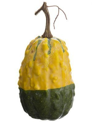 "9""H x 4""D Weighted Gourd Yellow Green"