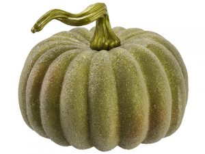 "8""H x 10""D Beaded Weighted Pumpkin Green"