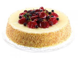 """8""""Dx2""""H Soft Touch CheeseCake Topped with Strawberry/Raspberry Cream Red"""