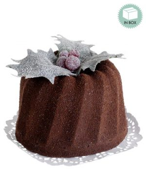 "4""H x 6""L Bundt Cake w/Holly in Acetate Box Chocolate"