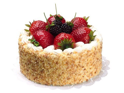 """6""""Dx4""""H Soft Touch Cake withStrawberry and RaspberryCream Red"""