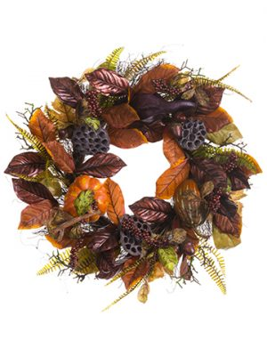 "25"" Pumpkin/Gourd/Acorn/Leaf Wreath Orange Rust"