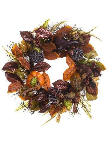 "25"" Pumpkin/Gourd/Acorn/LeafWreathOrange Rust"