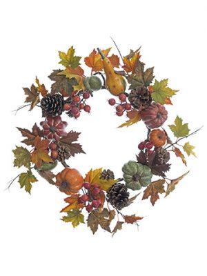 "24"" Pumpkin/Pine Cone/Pomegranate/Maple Leaf WreathFall"