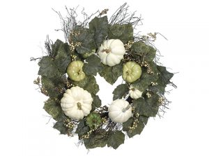 "24"" Pumpkin/Gourd/Grape Leaf Wreath Green Cream"