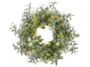 """32"""" Olive/Forsythia/Eucalyptus WreathYellow Green"""
