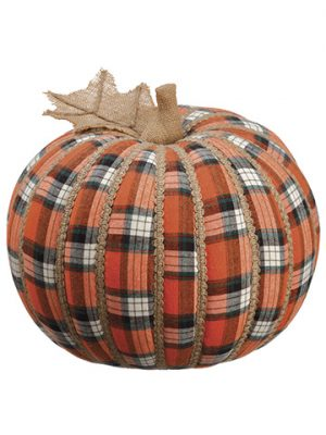 "11""H x 12""D Plaid Pumpkin Orange"