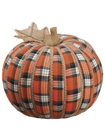 """11""""H x 12""""D Plaid Pumpkin Orange"""