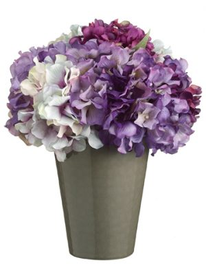 "11""H x 9""W x 9""L Hydrangea in Ceramic Pot Purple Lavender"