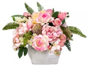 "14""H x 17""W x 21""L Rose/Peony/Allium/Hydrangea in StonewarePot Rose Pink"
