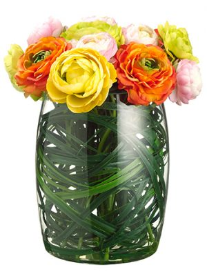 "13""H x 10""W x 10""L Ranunculus/Grass in Glass Vase Orange Pink"